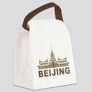Vintage Beijing Temple Canvas Lunch Bag