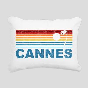 Palm Tree Cannes Rectangular Canvas Pillow