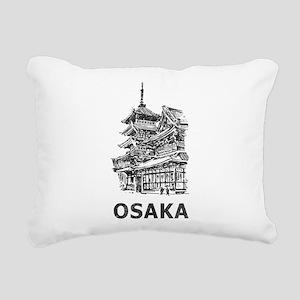 Vintage Osaka Temple Rectangular Canvas Pillow