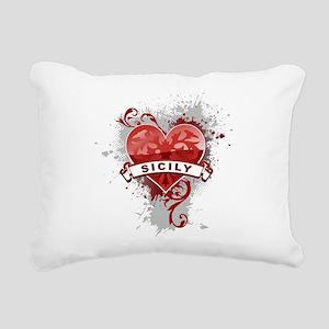 Heart Sicily Rectangular Canvas Pillow