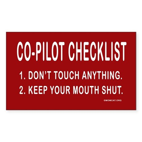 Co-Pilot Checklist Rectangle Sticker