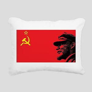 Lenin Soviet Flag Rectangular Canvas Pillow