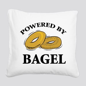 Powered By Bagel Square Canvas Pillow