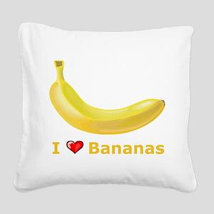 I Love Banana Square Canvas Pillow