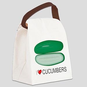 I Love Cucumber Canvas Lunch Bag