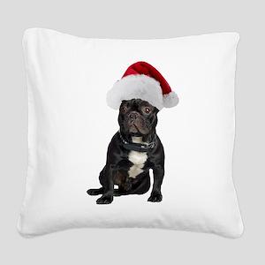FIN-french-bulldog-santa Square Canvas Pillow