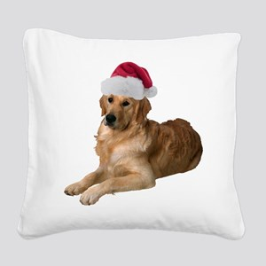 FIN-santa-golden-retriever Square Canvas Pillo