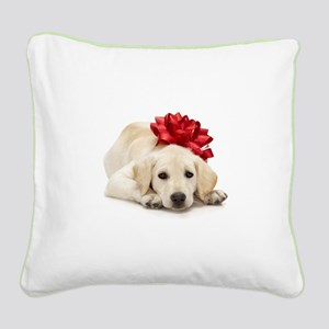 Yellow Lab Puppy Square Canvas Pillow