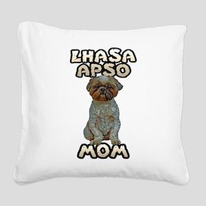 Lhasa Apso Mom Square Canvas Pillow