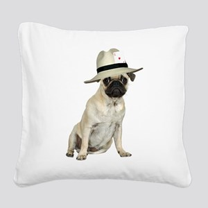 FIN-poker-pug-fawn Square Canvas Pillow