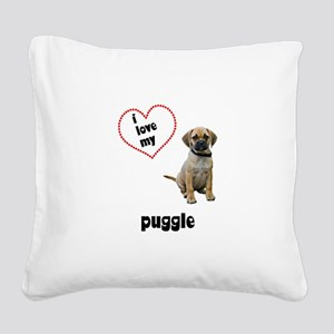 3-FIN-puggle-love Square Canvas Pillow