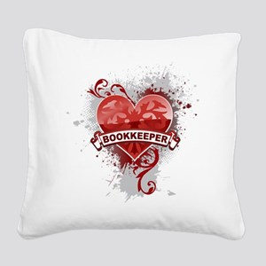 Heart Bookkeeper Square Canvas Pillow