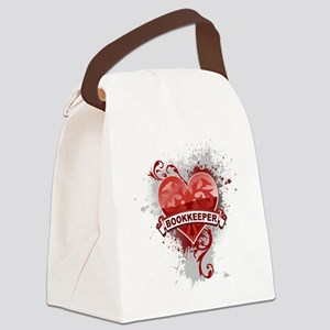 Heart Bookkeeper Canvas Lunch Bag