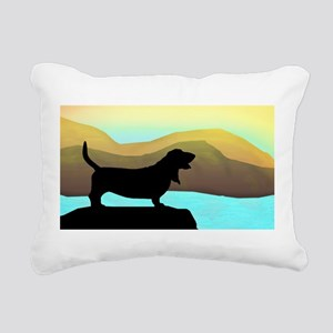 Basset Hound By The Sea Rectangular Canvas Pillow