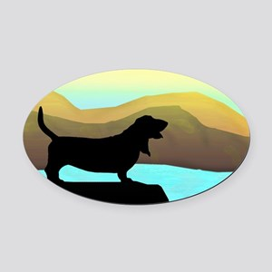Basset Hound By The Sea Oval Car Magnet