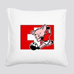 switzerland-soccer-pig Square Canvas Pillow