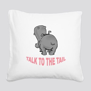 Hippo Talk To The Tail Square Canvas Pillow