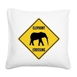 crossing-sign-elephant Square Canvas Pillow