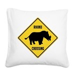 crossing-sign-rhino Square Canvas Pillow