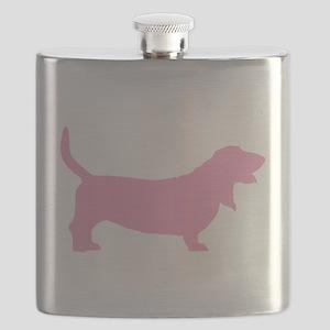 basset hound pink Flask