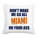Miami Football Square Canvas Pillow