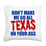 Texas Baseball Square Canvas Pillow