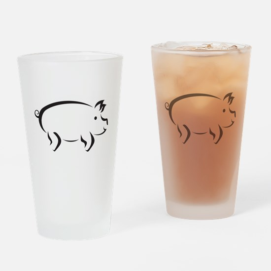 Simple Pig Drinking Glass