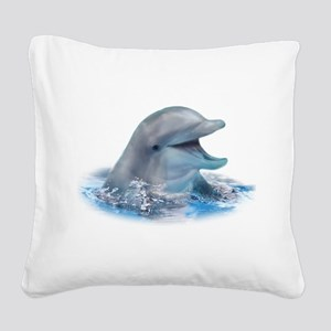 Happy Dolphin Square Canvas Pillow