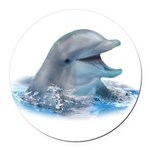 Happy Dolphin Round Car Magnet