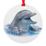 Happy Dolphin Round Ornament
