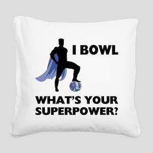 Bowling Superhero Square Canvas Pillow