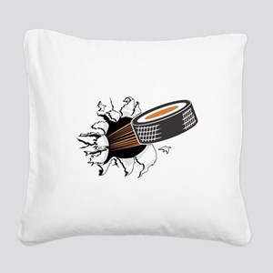 FIN-hockey-puck-tearing Square Canvas Pillow
