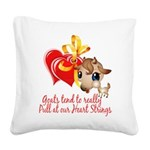 Goats Pull at Heart Strings Square Canvas Pill