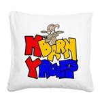 My Barn My Rules Goat Square Canvas Pillow