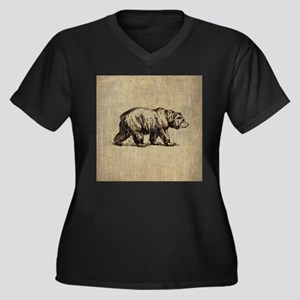 Vintage Bear Women's Plus Size V-Neck Dark T-Shirt