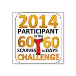 "2012 60 Scarves Challenge Square Sticker 3"" x 3"""