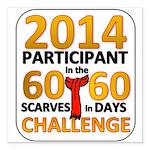 """2012 60 Scarves Challenge Square Car Magnet 3"""" x 3"""