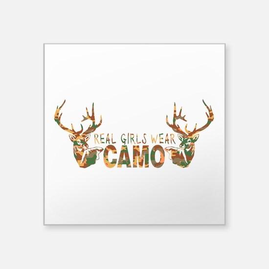 "REAL GIRLS WEAR CAMO Square Sticker 3"" x 3&qu"
