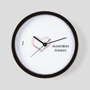 I heart Australian Terriers Wall Clock