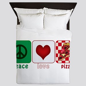 PeaceLovePizza Queen Duvet