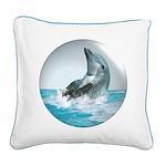 Bubble Dolphin Square Canvas Pillow