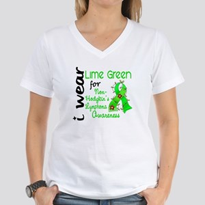 I Wear Lime 43 Lymphoma Women's V-Neck T-Shirt