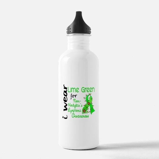 I Wear Lime 43 Lymphoma Water Bottle
