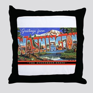 Washington State Greetings Throw Pillow