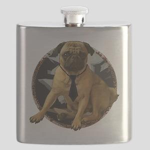 Pug in tie Flask