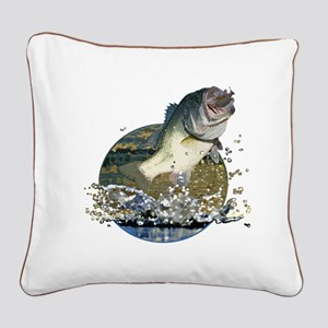 Largemouth Bass Square Canvas Pillow