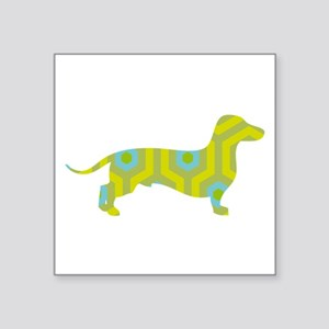 "Dachshund Yellow Hicks Square Sticker 3"" x 3"""