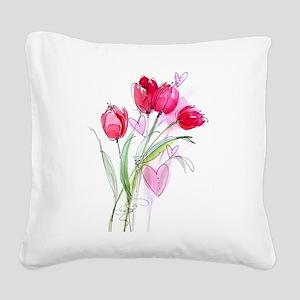 Tulip2a Square Canvas Pillow