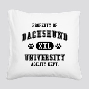 Property of Dachshund Univ. Square Canvas Pillow