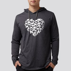 Bouvier des Flandres Heart T-shi Mens Hooded Shirt